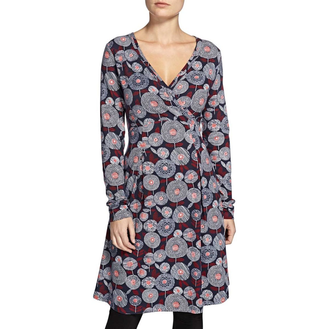 Weird Fish Drobak Printed Woven Dress with Cross Over Neckline Ink