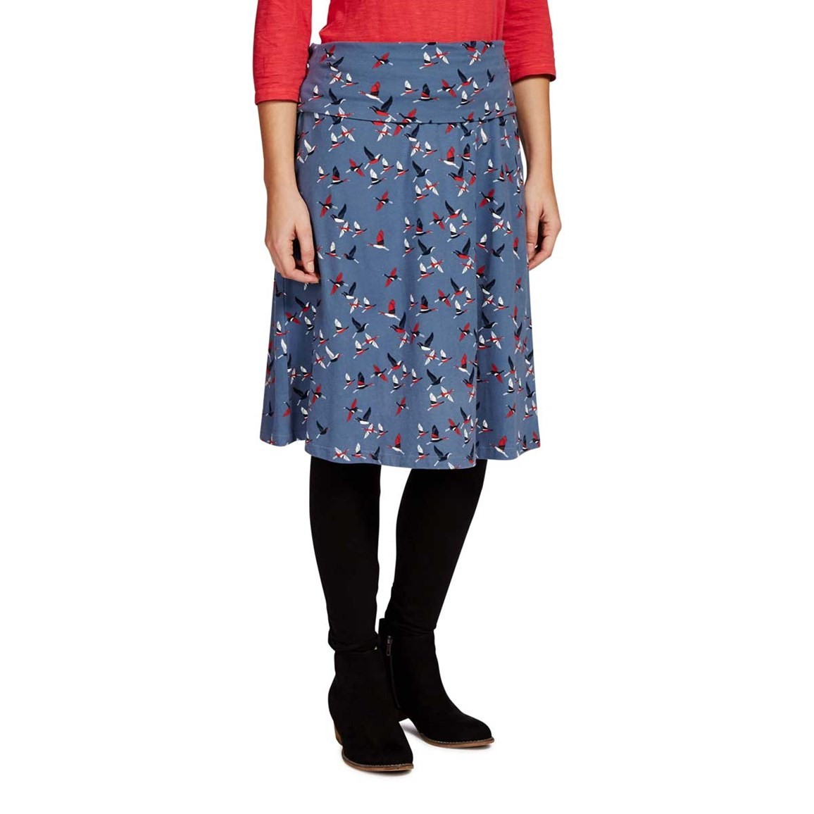 Weird Fish Malmo Printed A-Line Mid Length Jersey Skirt Storm