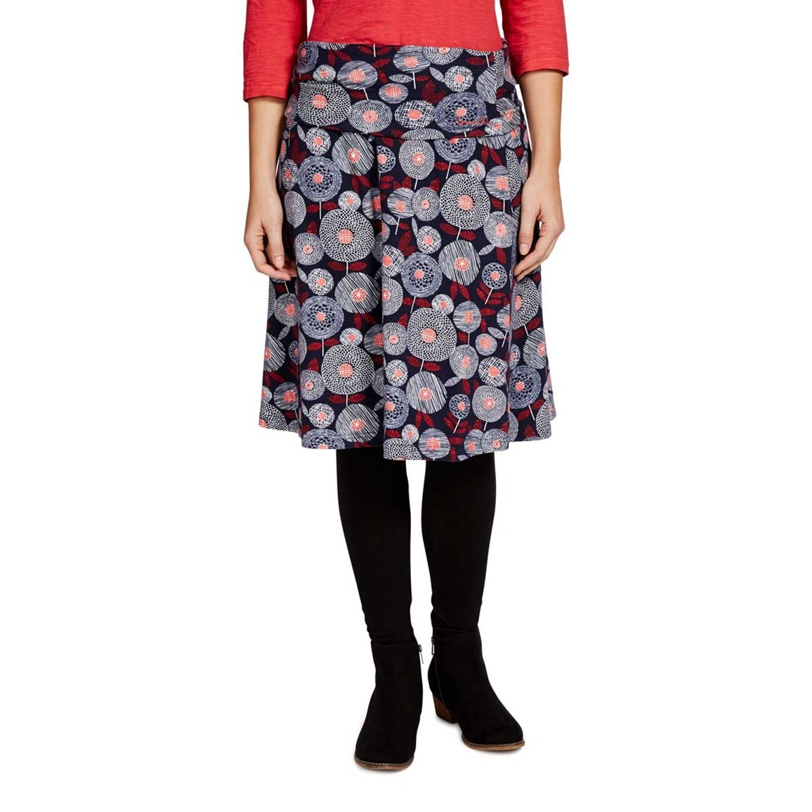 Weird Fish Malmo Printed A-Line Mid Length Jersey Skirt Ink