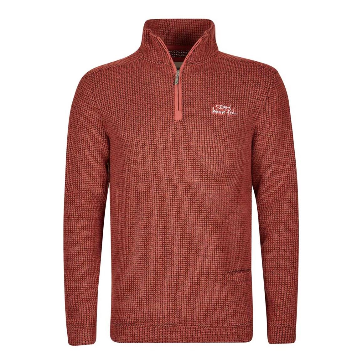 Image of Weird Fish Tindal Textured 1/4 Zip Soft Knit Fleece Sweatshirt Baked Apple Size XL