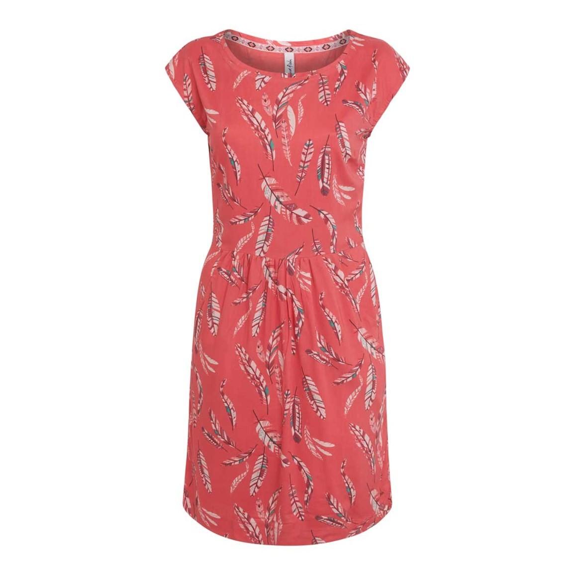 Weird Fish Minnihaha Printed Lightweight Dress Bright Coral