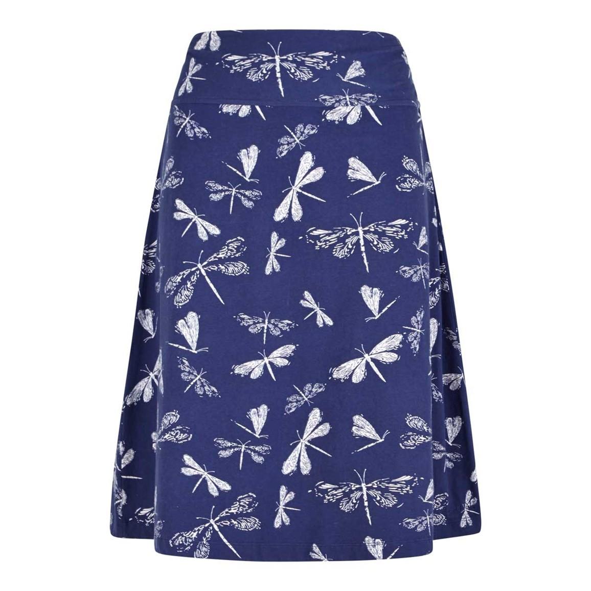 Weird Fish Malmo Printed Jersey Skirt Navy Blue