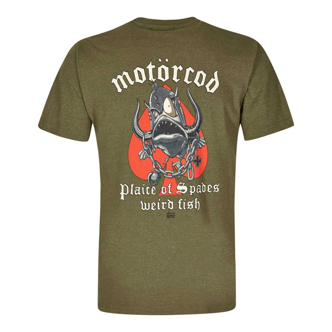 Weird Fish Motorcod Printed Artist T-Shirt Military Olive