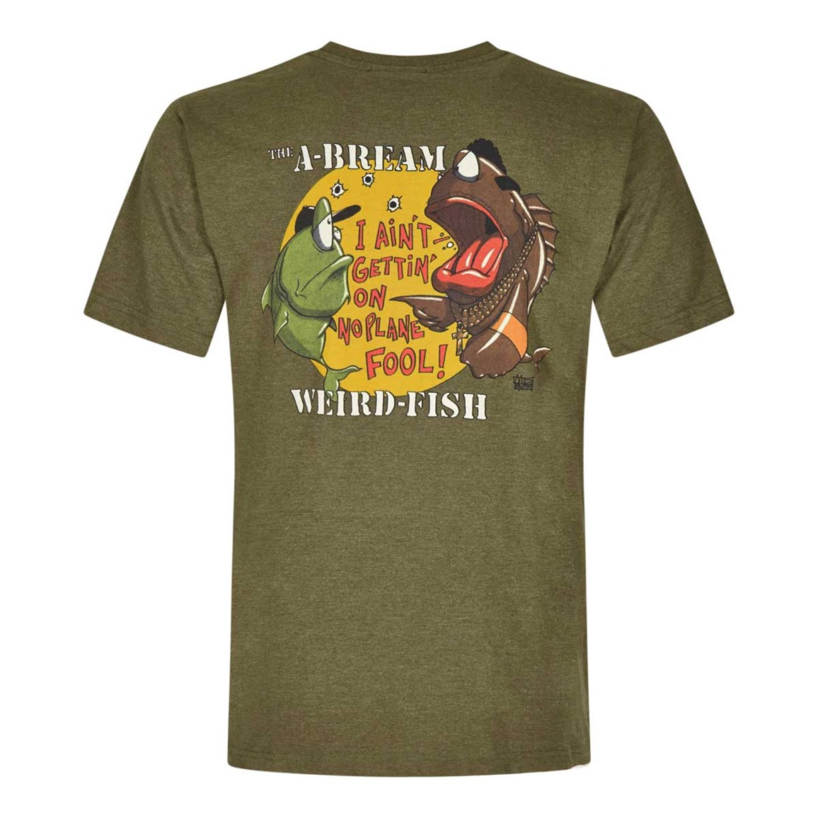 Weird Fish A-Bream Printed Artist T-Shirt Military Olive Marl
