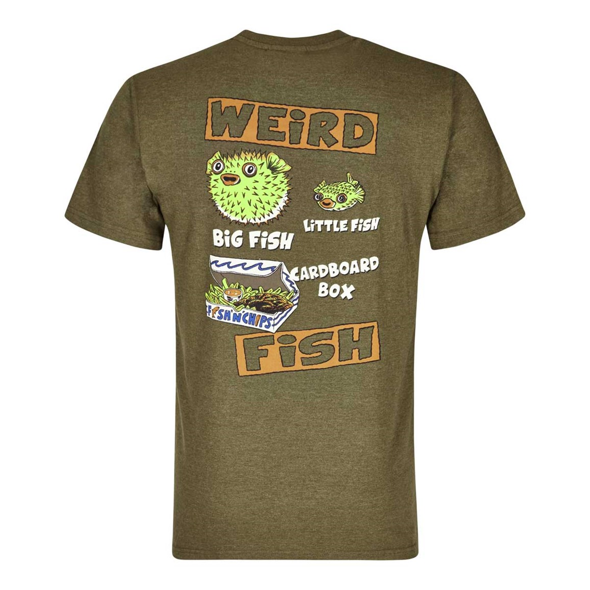 Weird Fish Big Fish Little Fish Printed Artist T-Shirt Military Olive Marl
