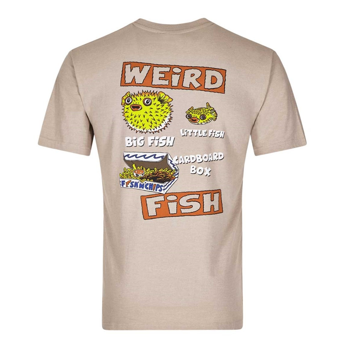 Weird Fish Big Fish Little Fish Printed Artist T-Shirt String Marl