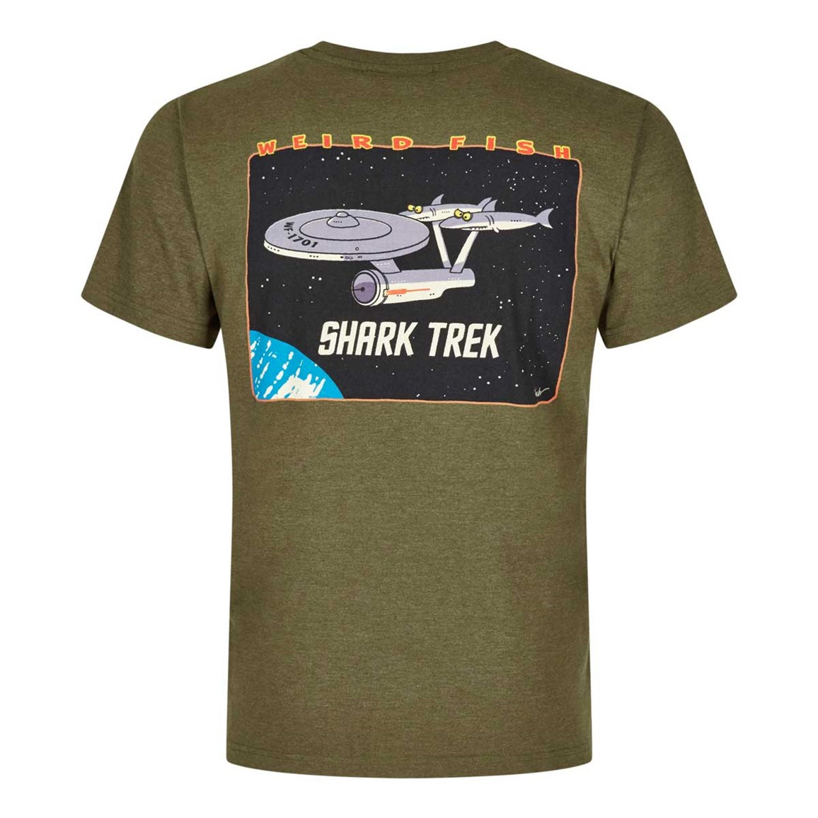 Weird Fish Shark Trek Printed Artist T-Shirt Military Olive