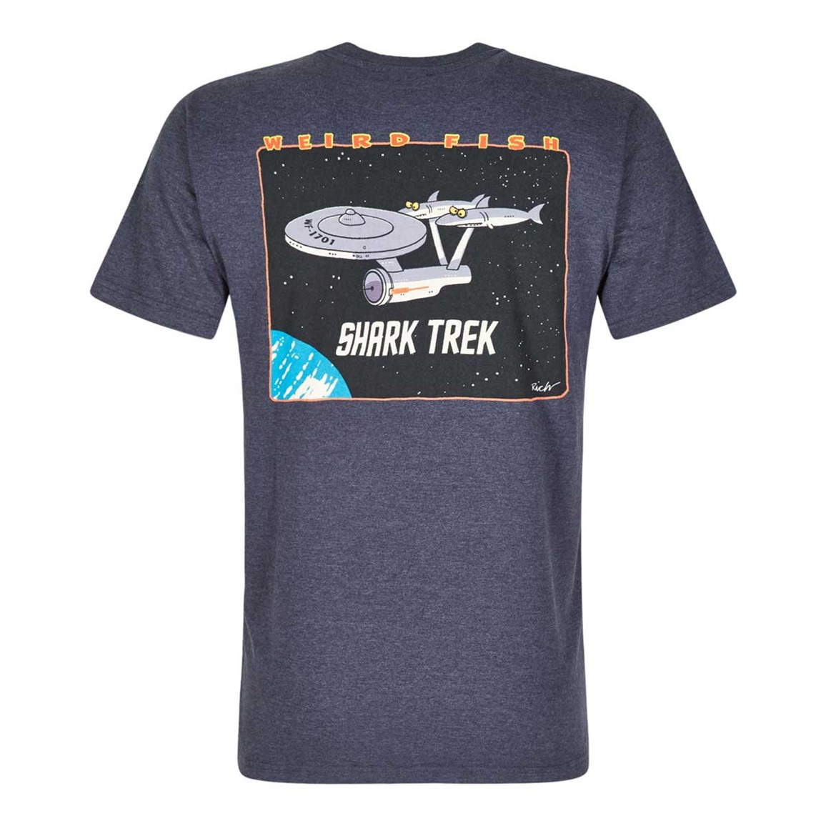 Weird Fish Shark Trek Printed Artist T-Shirt Navy