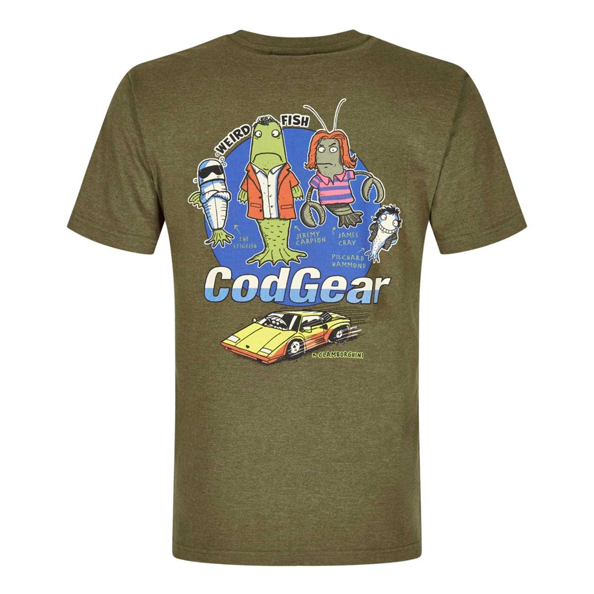 Weird Fish Cod Gear Printed Artist T-Shirt Military Olive Marl