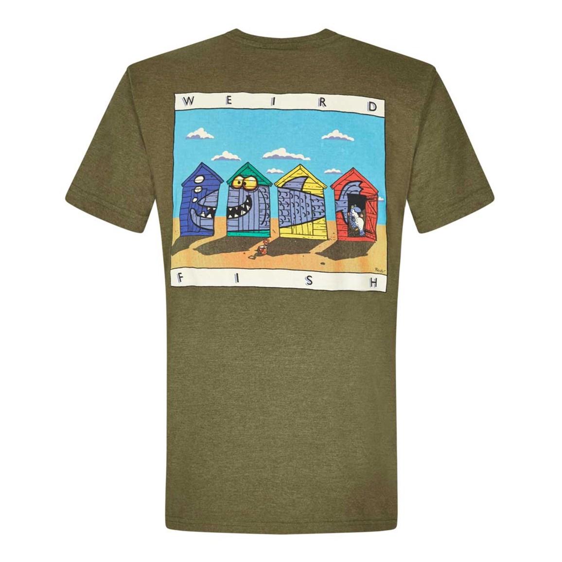 Weird Fish Weird Huts Printed Artist T-Shirt Military Olive Marl