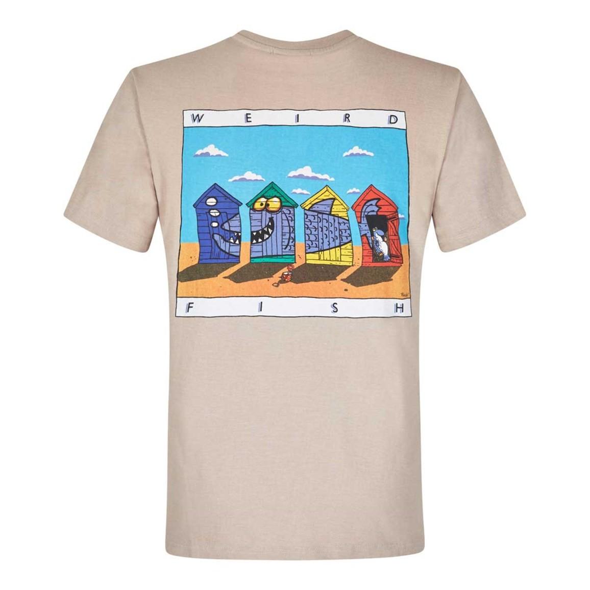 Weird Fish Weird Huts Printed Artist T-Shirt String Marl