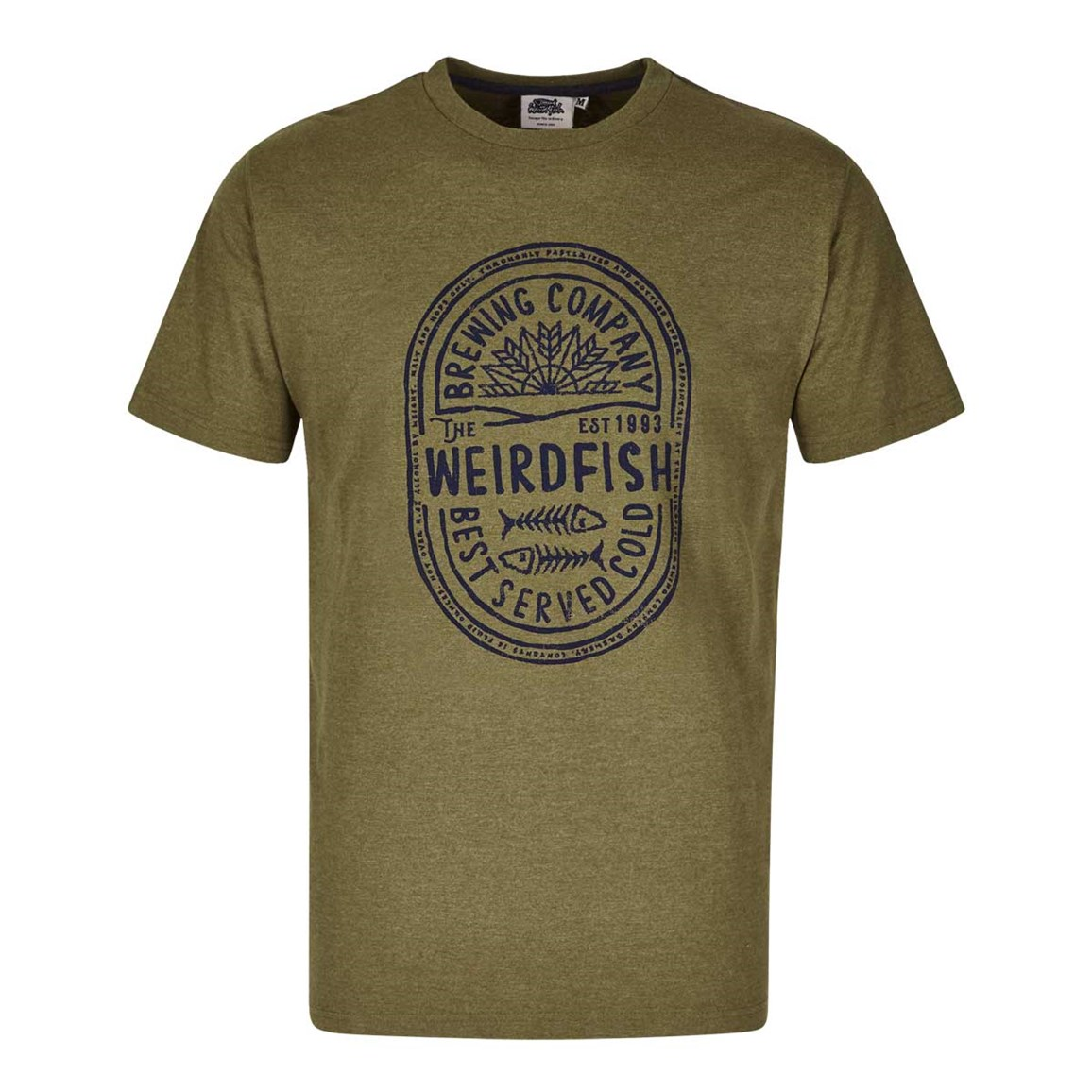 Weird Fish WF Brewing Co Graphic Print T-Shirt Military Olive Marl