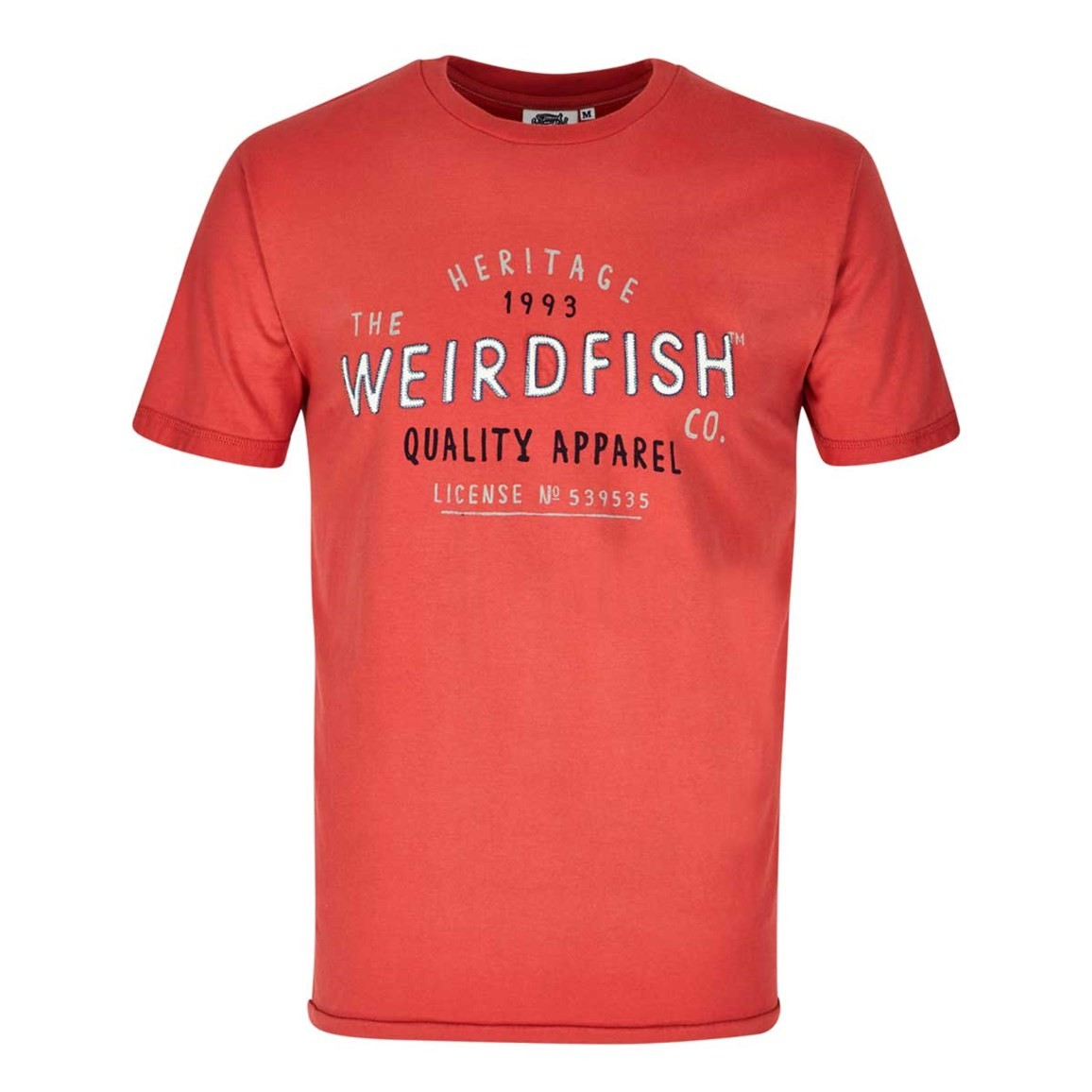 Weird Fish Heritage Applique & Graphic Print Cotton T-Shirt Baked Apple