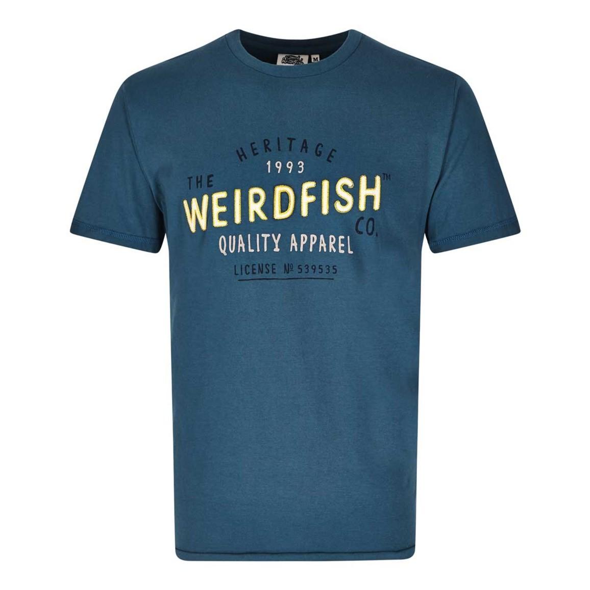 Image of Weird Fish Heritage Applique & Graphic Print Cotton T-Shirt Dark Blue Size XS