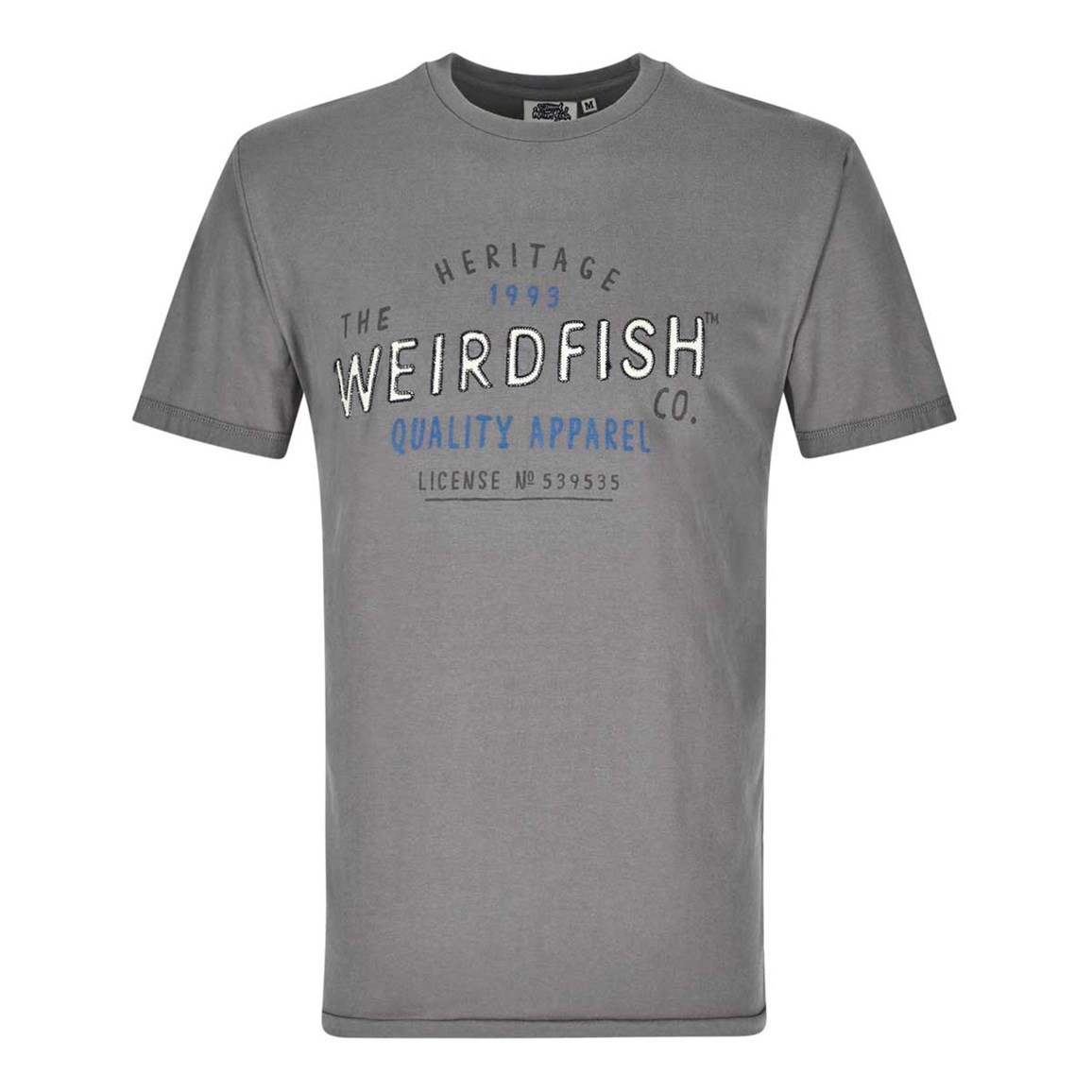 Weird Fish Heritage Applique & Graphic Print Cotton T-Shirt Grey