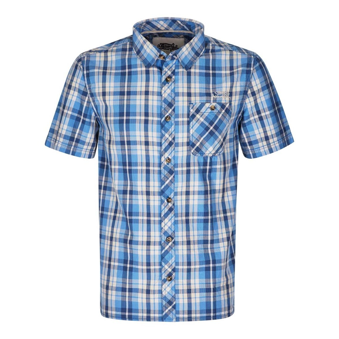 Weird Fish Zepar Cotton Short Sleeve Check Shirt Regatta Blue