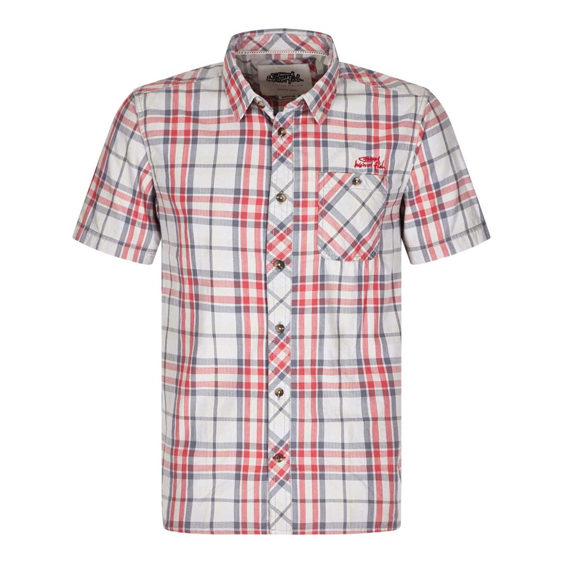 Weird Fish Zepar Cotton Short Sleeve Check Shirt Grey