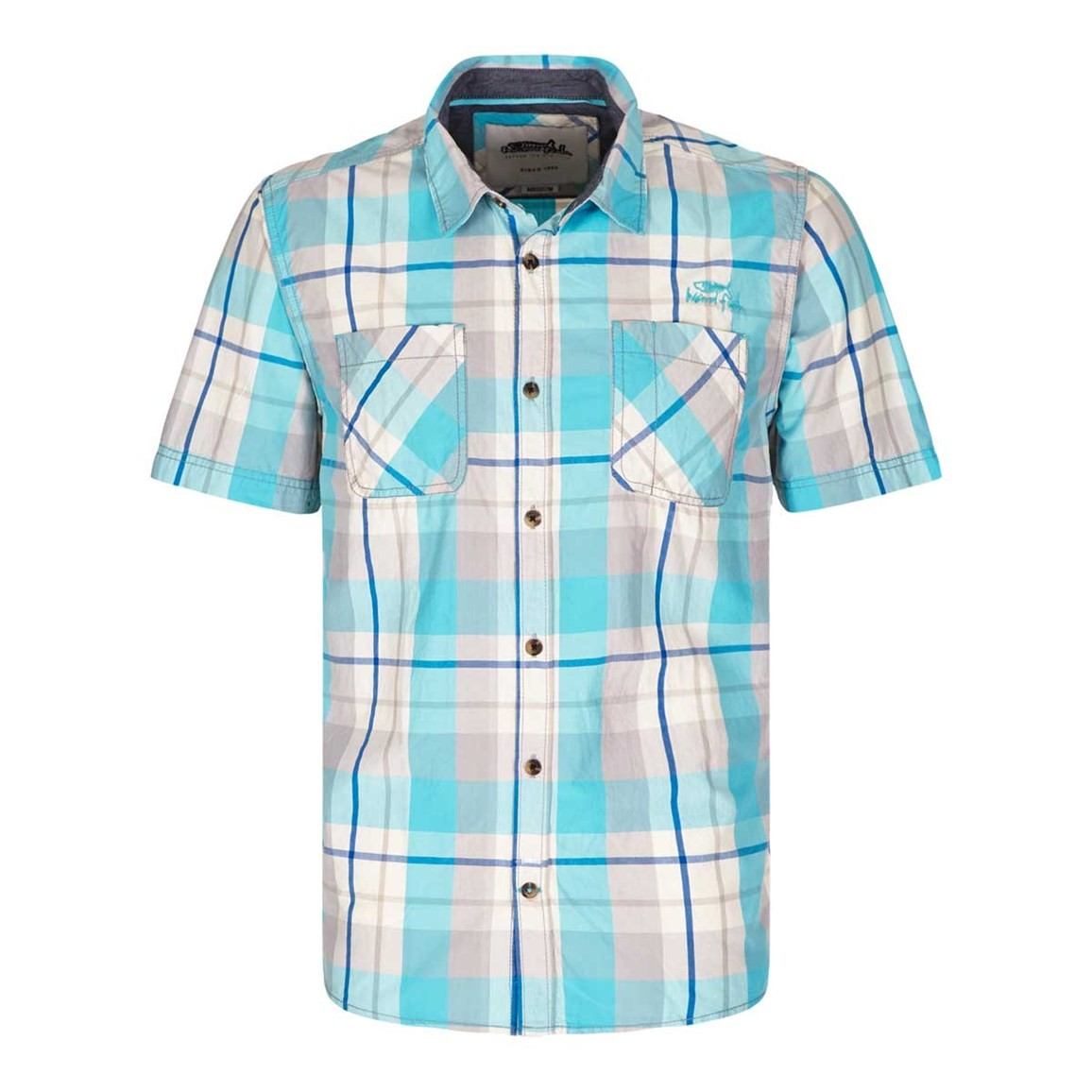 Weird Fish Pursan Cotton Short Sleeve Check Shirt Blue Atoll