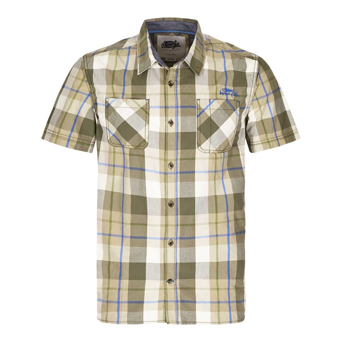 Weird Fish Pursan Cotton Short Sleeve Check Shirt Khaki