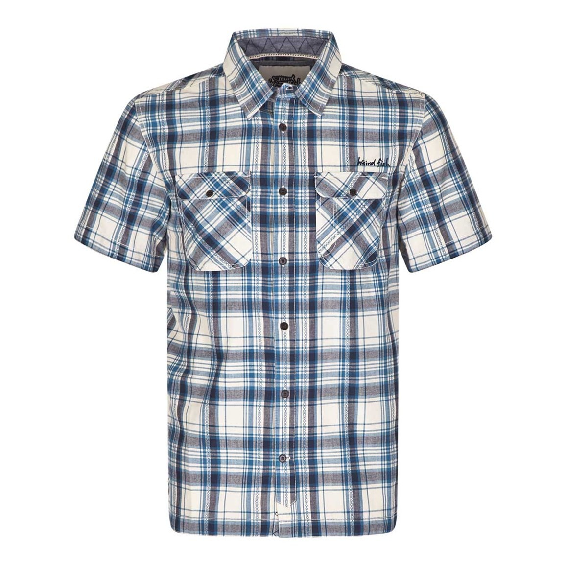 Weird Fish Paiman Cotton Short Sleeve Check Shirt Stone