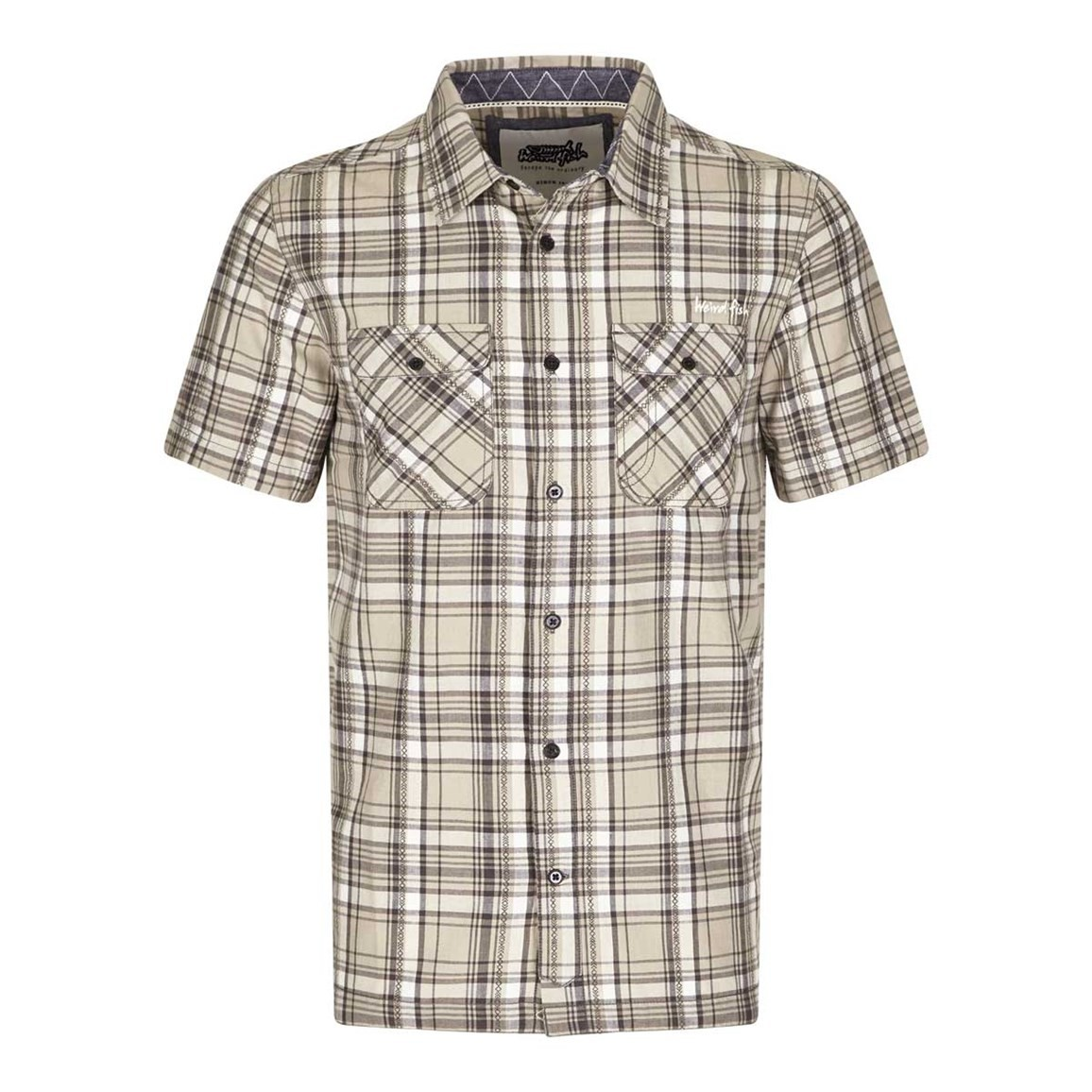 Weird Fish Paiman Cotton Short Sleeve Check Shirt Grey