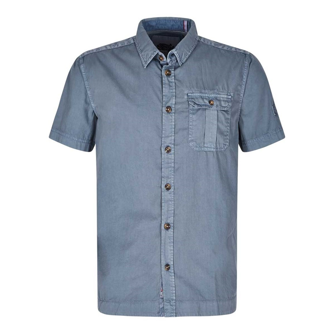 Weird Fish Sitri Cotton Short Sleeve Shirt Cadet Blue