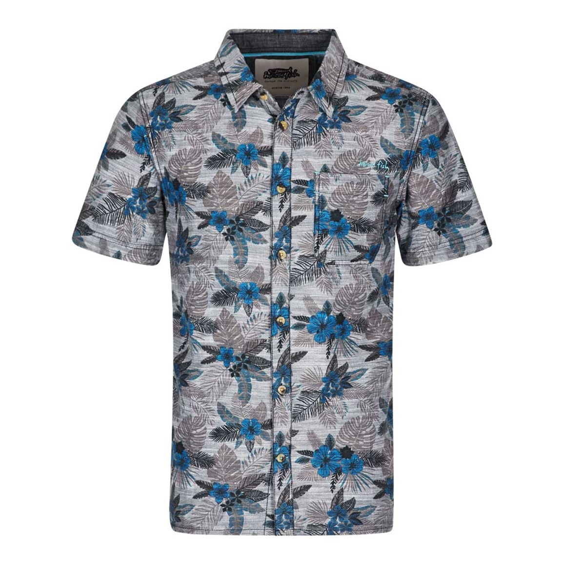 Weird Fish Barbas Printed Cotton Short Sleeve Hawaiian Shirt Dark Blue