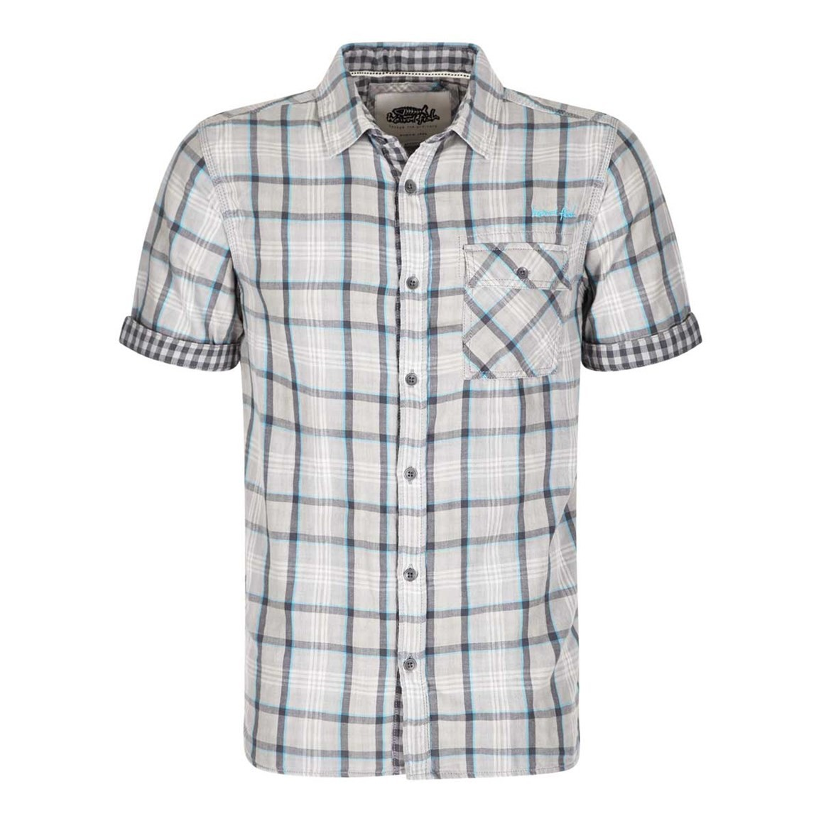 Weird Fish Baal Cotton Short Sleeve Check Shirt Grey