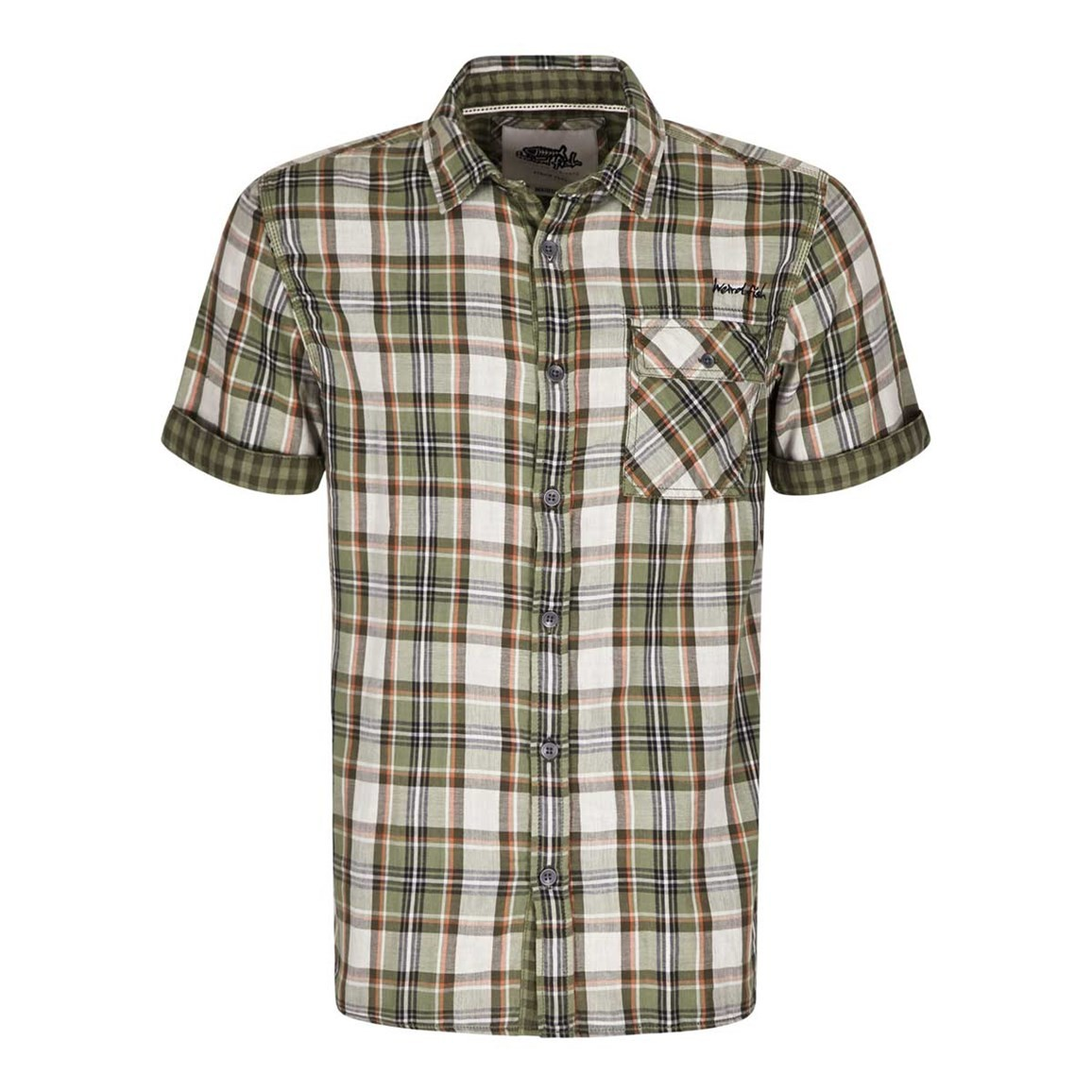 Weird Fish Baal Cotton Short Sleeve Check Shirt Khaki