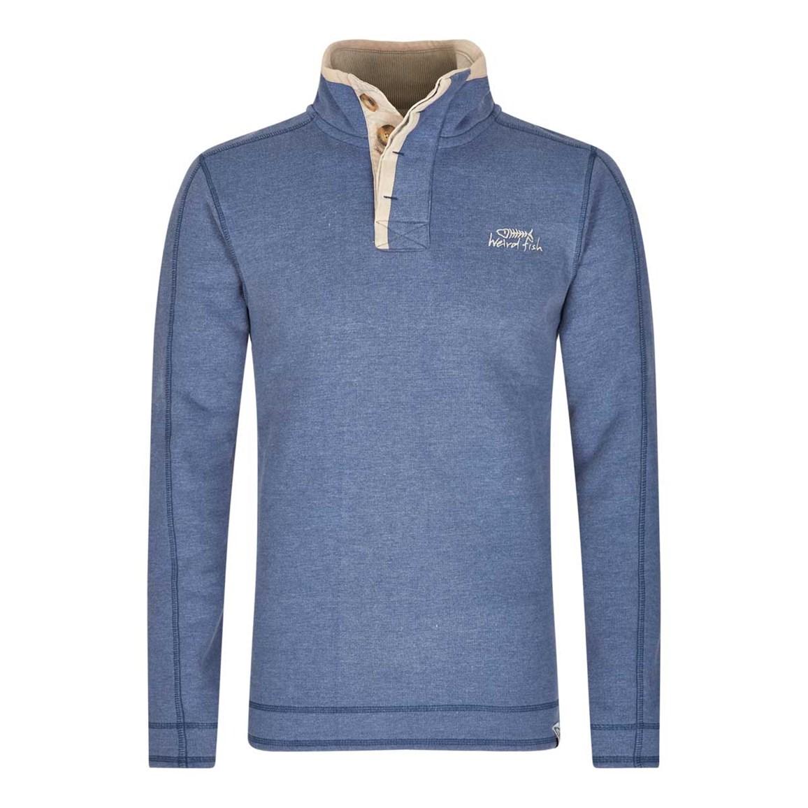 Image of Weird Fish Genie Button Neck Sweatshirt Dark Blue Size 4XL