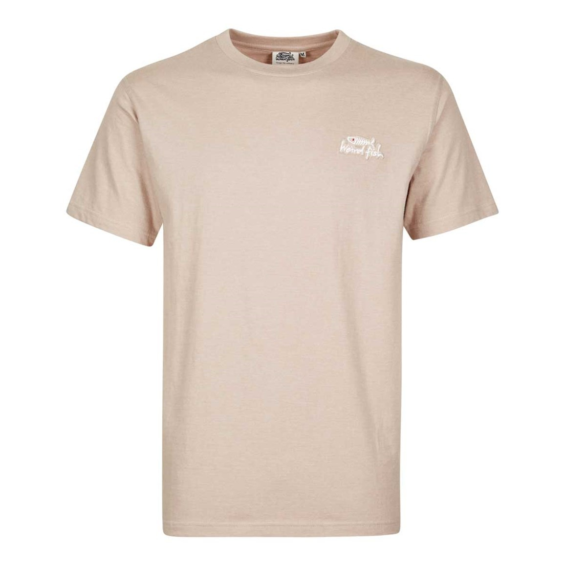 Image of Weird Fish Bones Embroidered Logo Classic Plain T-Shirt String Marl Size 2XL