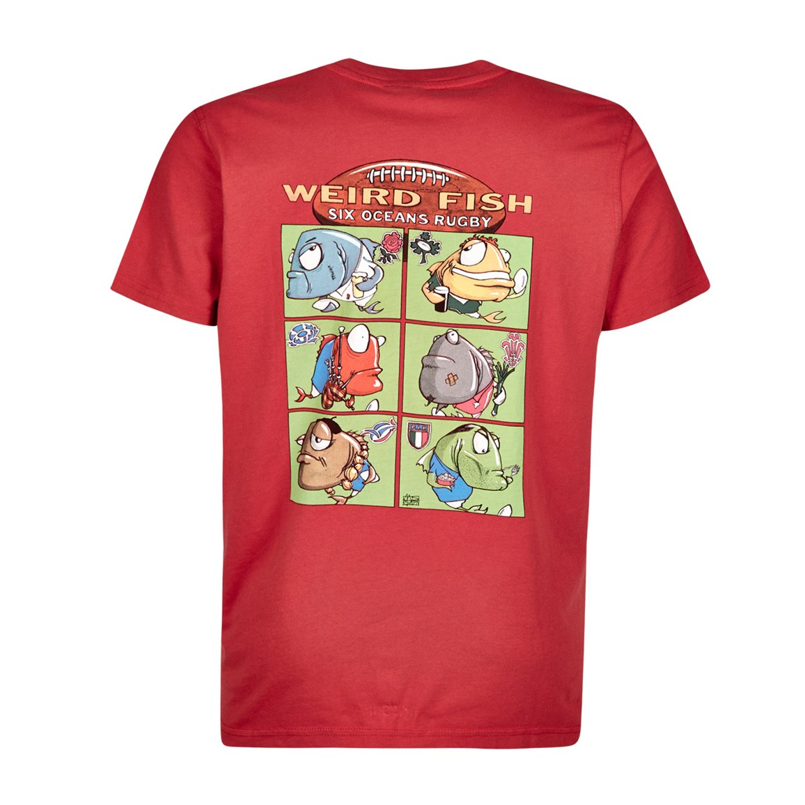 Weird Fish Six Oceans Cotton Printed Artist T-Shirt Red