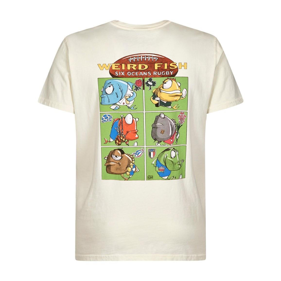 Weird Fish Six Oceans Cotton Printed Artist T-Shirt White