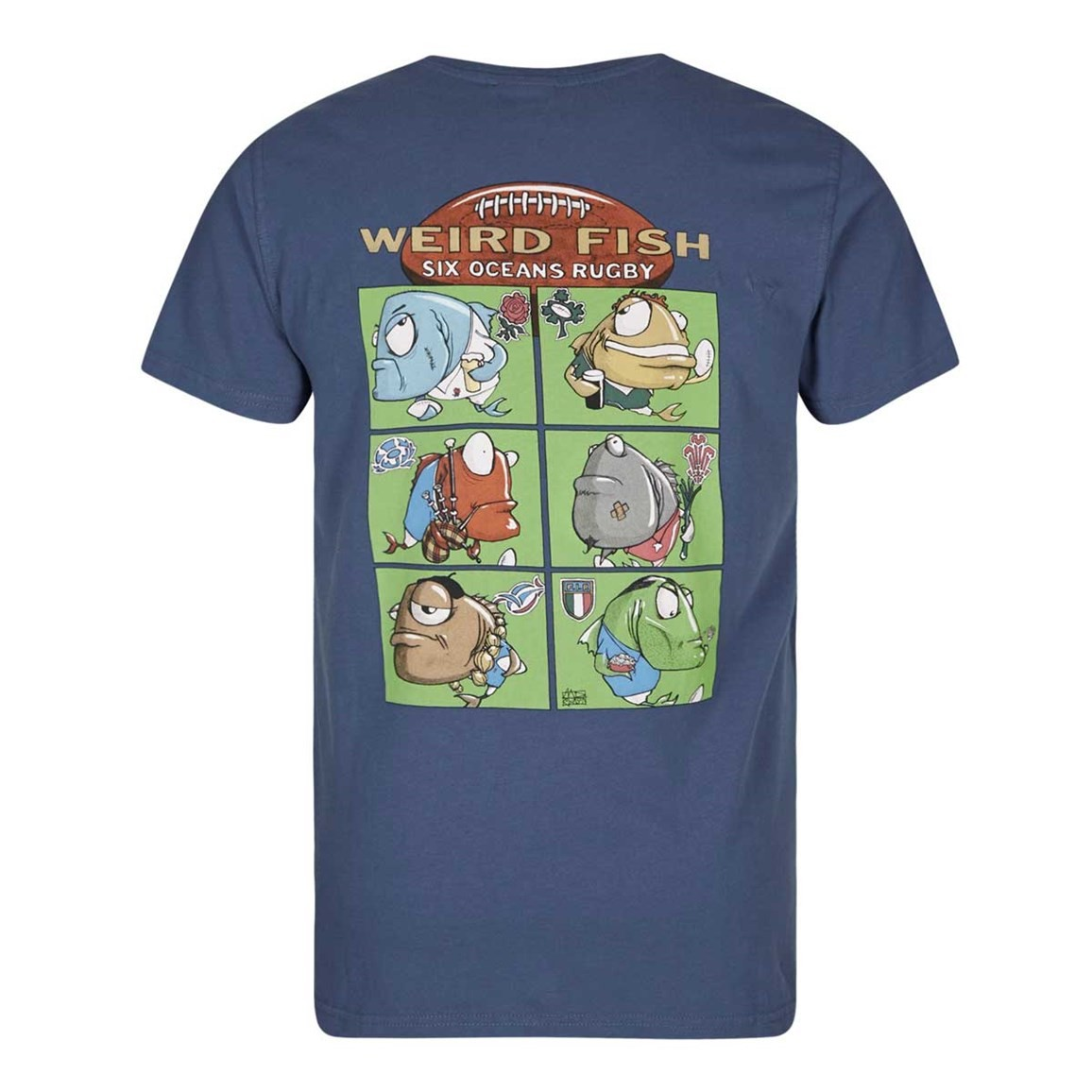 Weird Fish Six Oceans Cotton Printed Artist T-Shirt Ensign Blue
