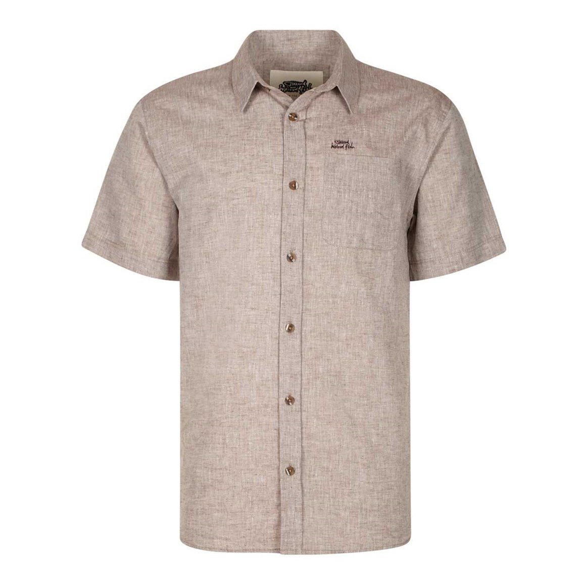Weird Fish Mansel Short Sleeve Linen Shirt Brown