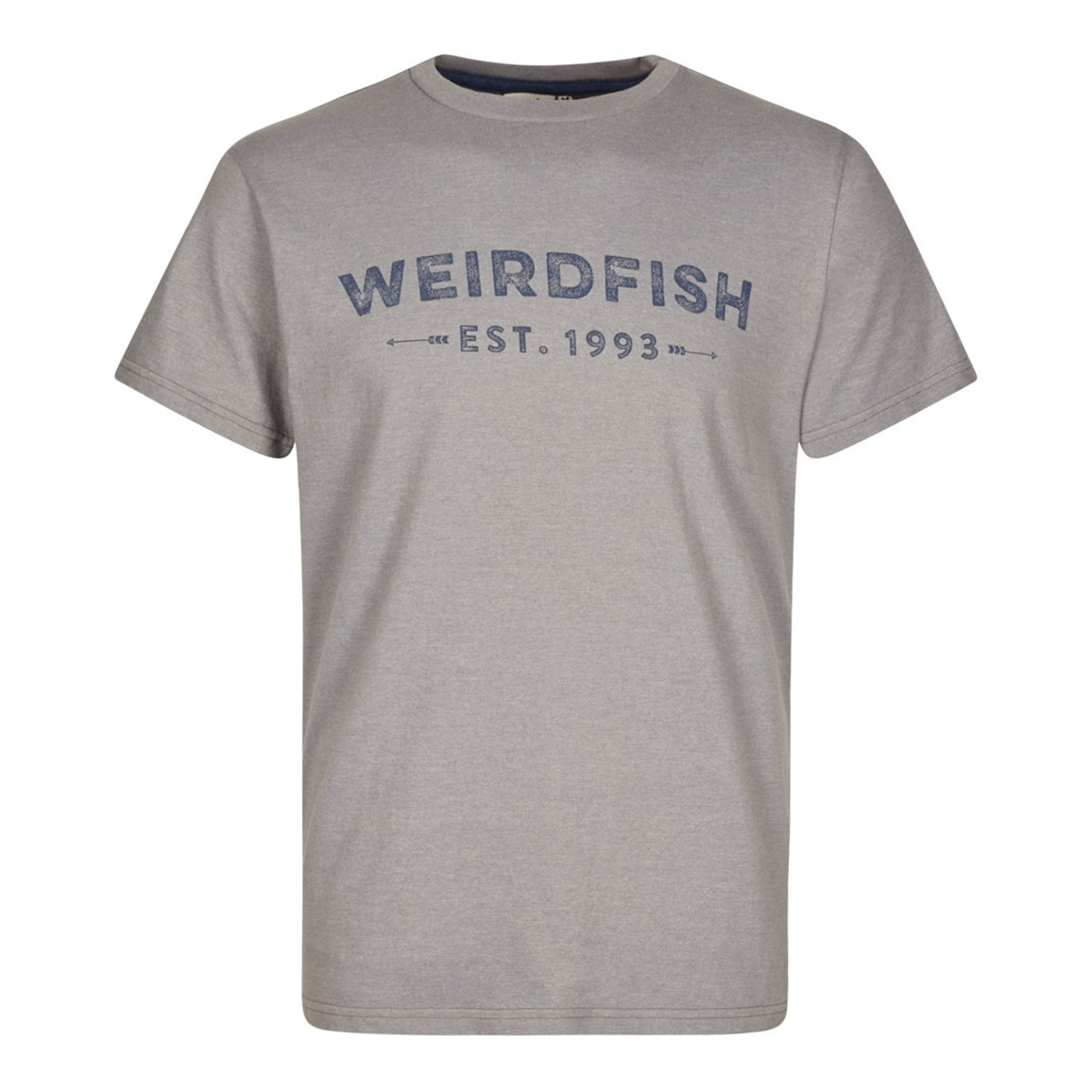 Weird Fish Yang Jersey Marl Graphic Print T-Shirt Frost Grey