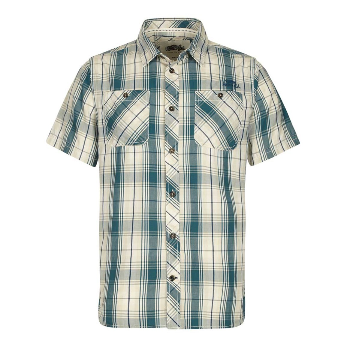 Weird Fish Kale Cotton Short Sleeve Checked Shirt Sea Green