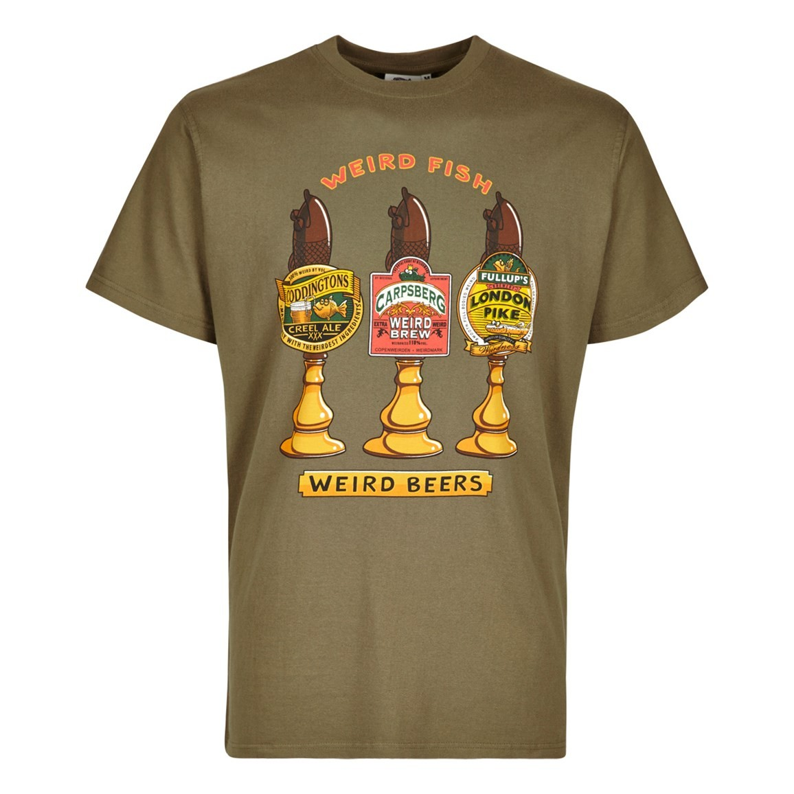 Weird Fish Weird Beers Printed Artist T-Shirt Military Olive