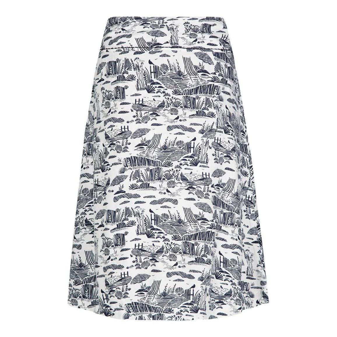 Weird Fish Ditte Reversible Printed Lightweight Skirt Navy Blue