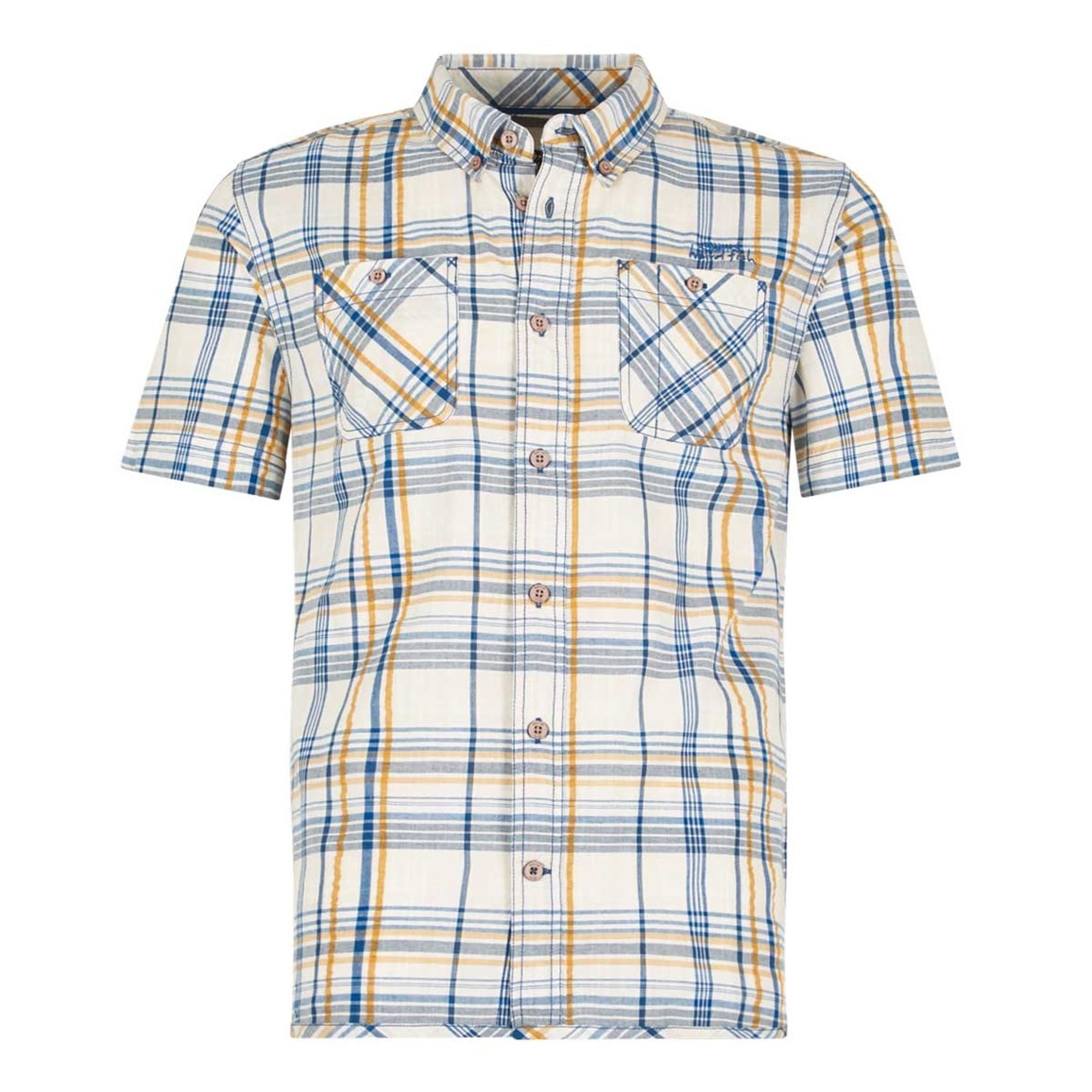 Weird Fish Marax Cotton Short Sleeve Checked Shirt Royal Blue