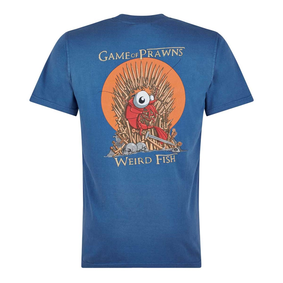 Weird Fish Game Of Prawns Printed Artist T-Shirt Dark Blue Marl