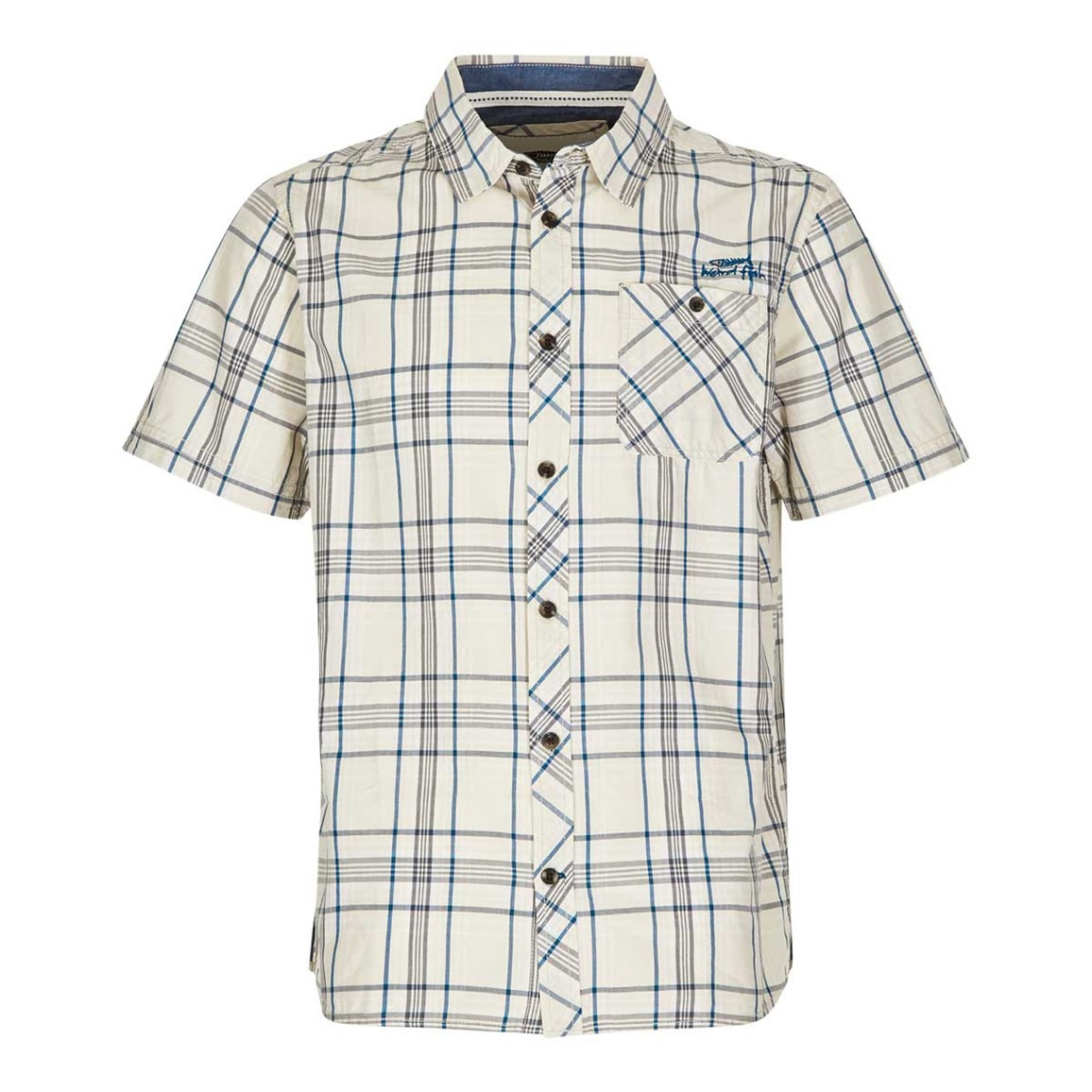 Weird Fish Aitne Cotton Short Sleeve Check Shirt Stone