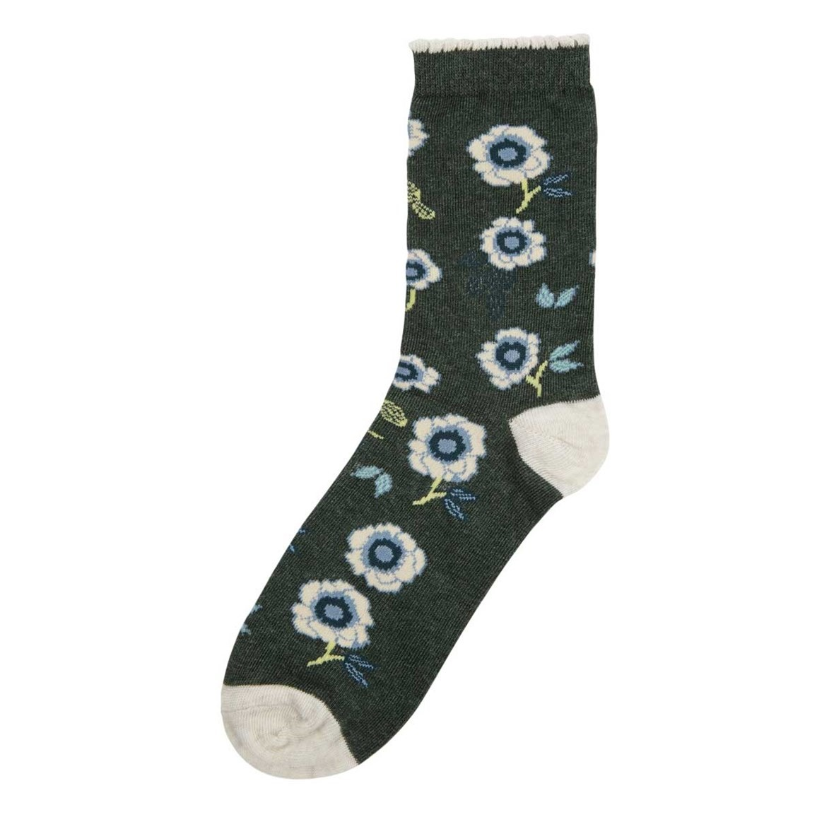 Weird Fish Huron Floral Printed Sock Evergreen