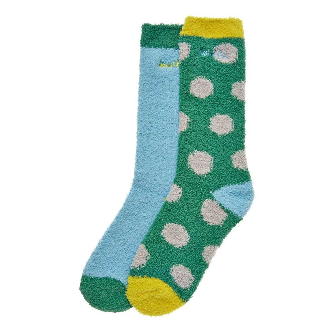 Weird Fish Park Fluffy Socks 2 Pack Fir Green