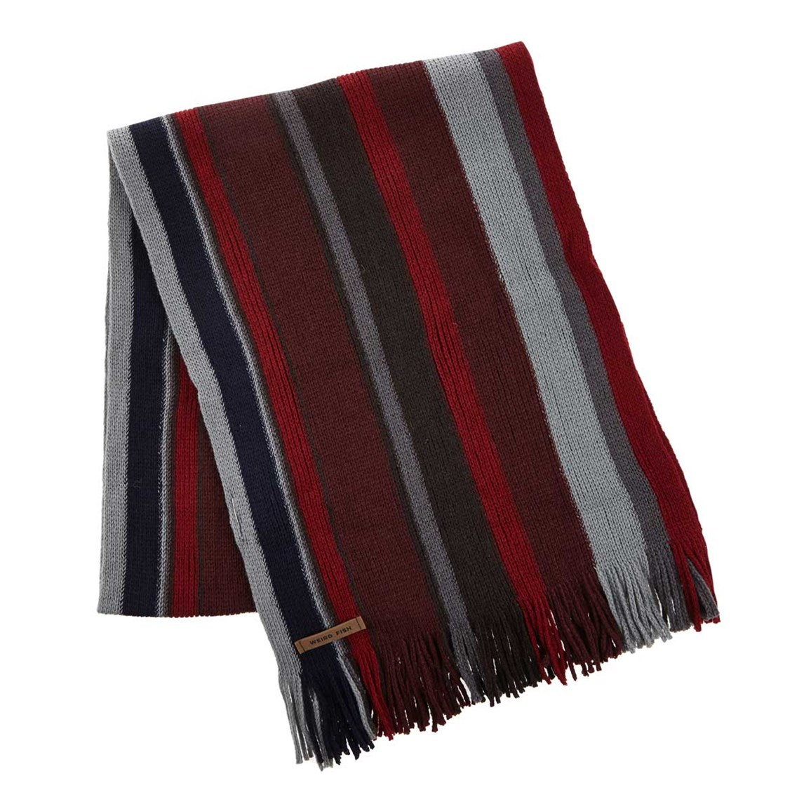 Weird Fish Nubs Soft Touch Striped Scarf Mulled Wine