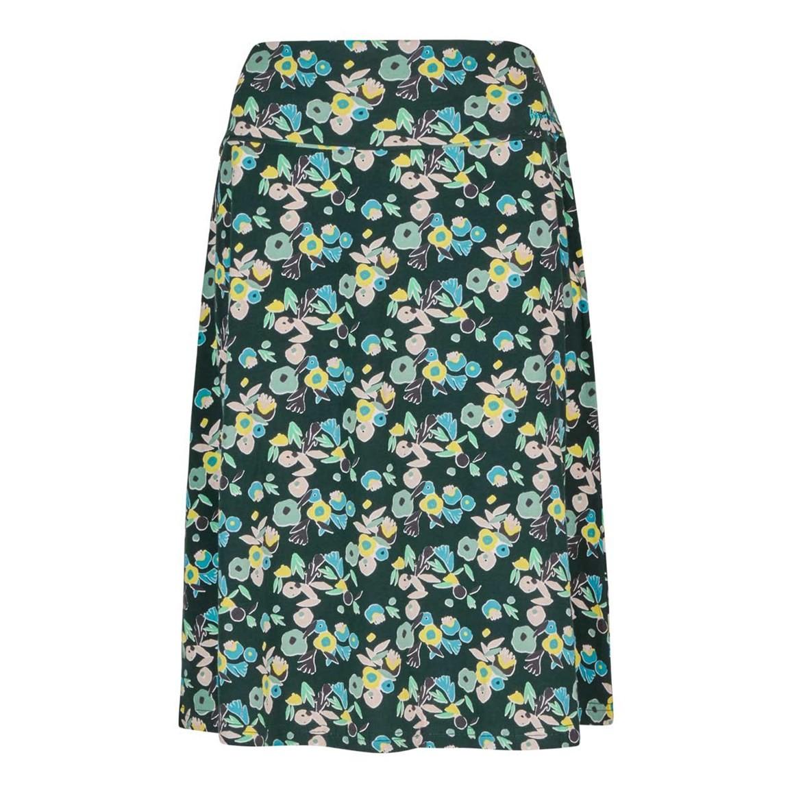 Weird Fish Malmo Printed Jersey Skirt Evergreen