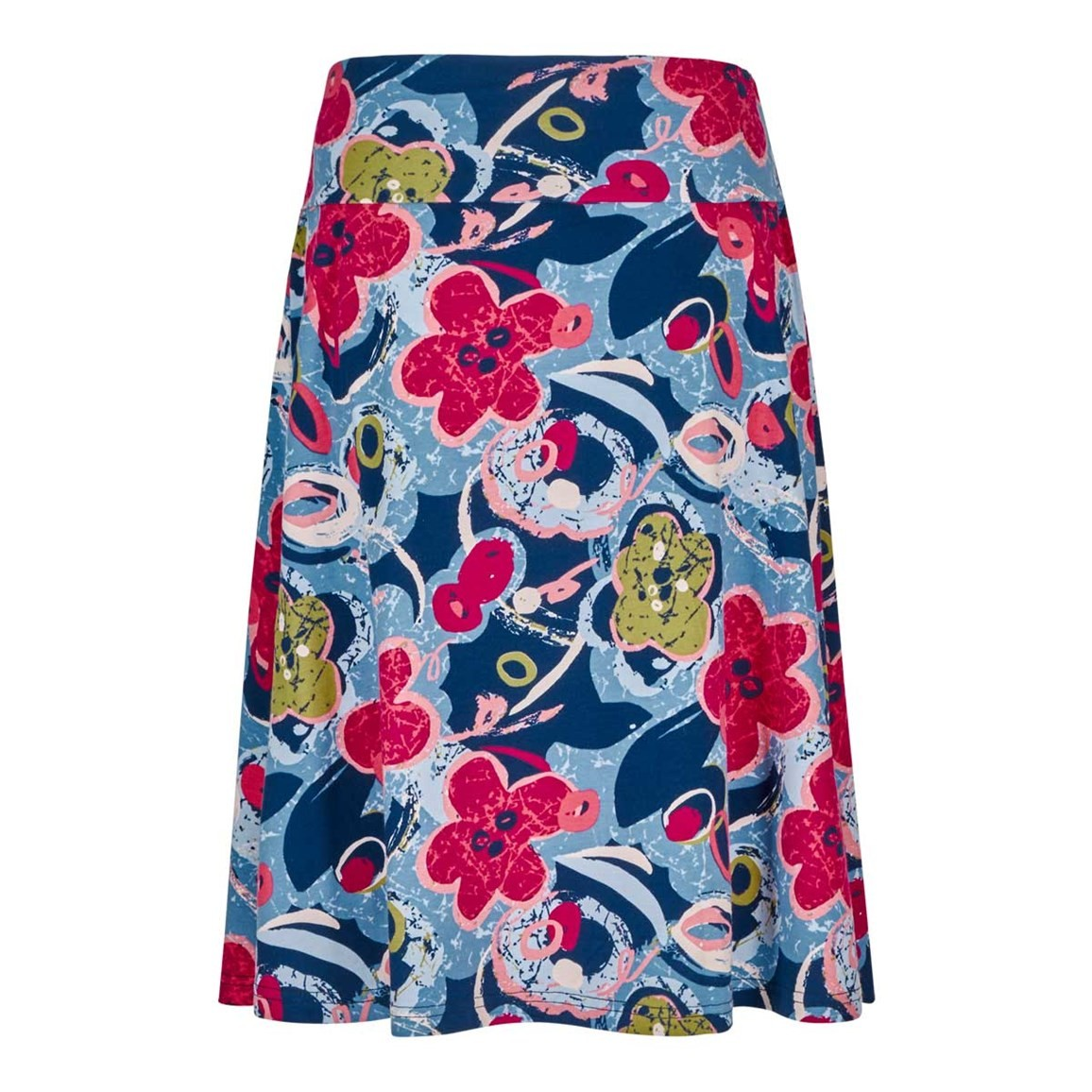 Weird Fish Malmo Printed Jersey Skirt Airforce Blue