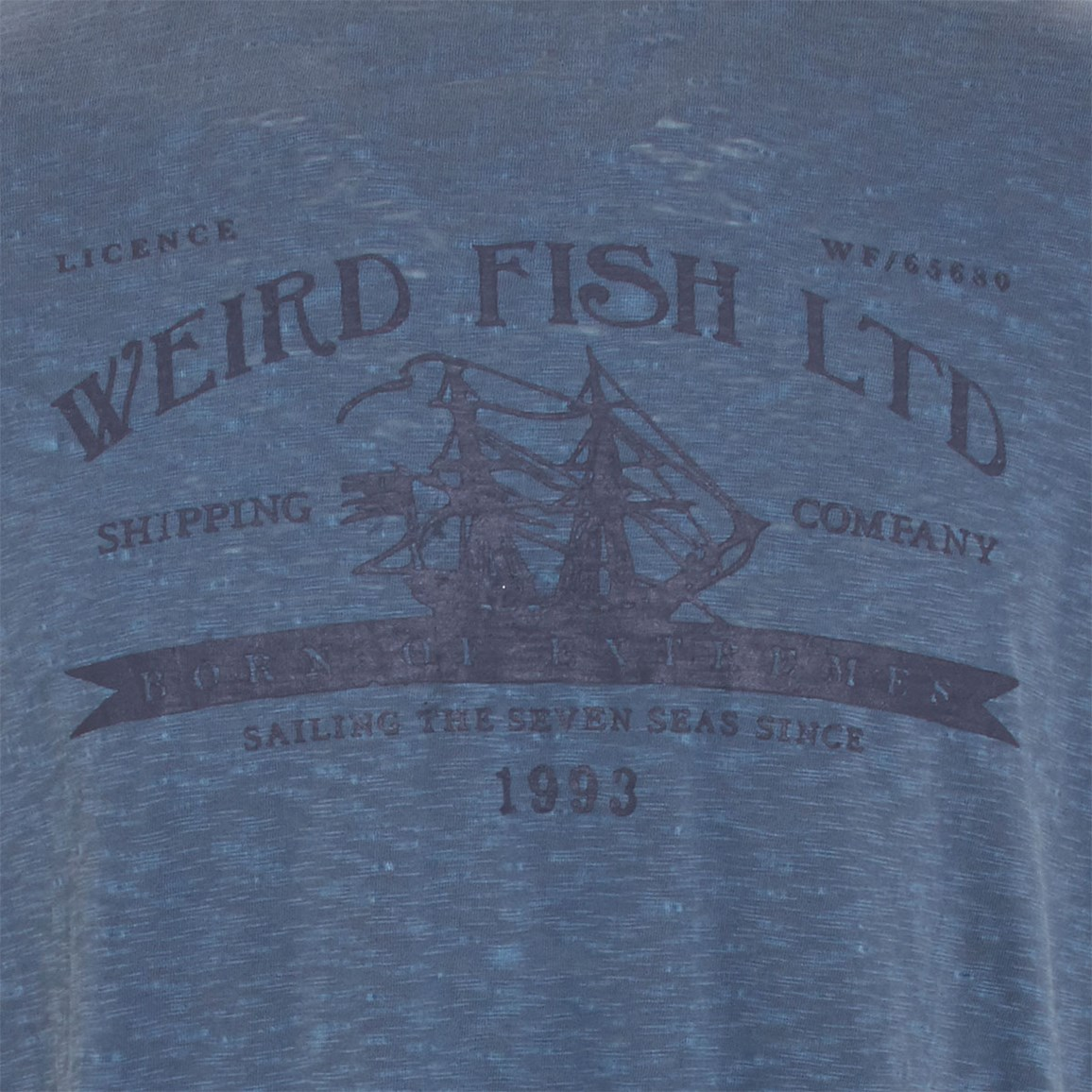 Image of Weird Fish Shipping Printed Graphic T-Shirt Cadet Blue Size L