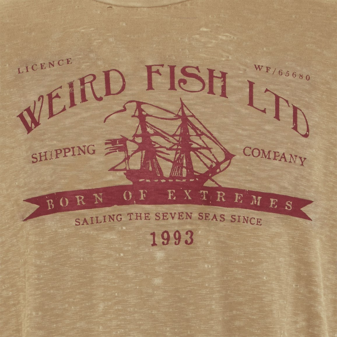 Image of Weird Fish Shipping Printed Graphic T-Shirt Pebblestone Size 2XL