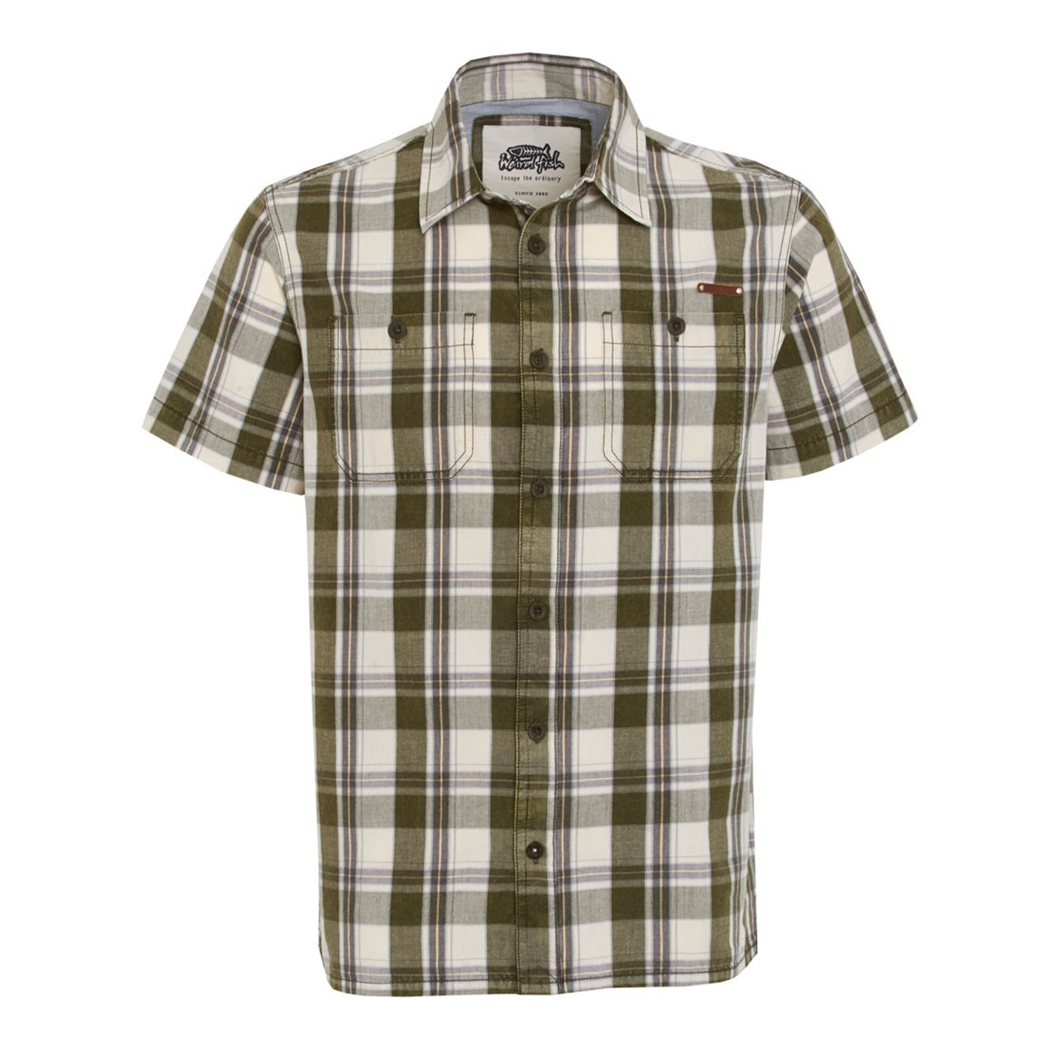 Weird Fish Fjord Short Sleeve Oxford Check Shirt Army Green